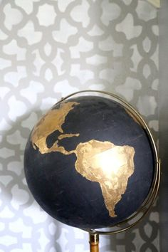 DIY Black & Gold Globe--project for decor for the lobby at the venue?