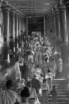Henri Cartier-Bresson // Burma, 1948 - - Yangoon. One of the four entrances to the Shwe Dagon Pagoda.
