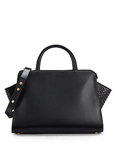 ZAC Zac Posen - Eartha East-West Leather and Snake-Embossed Shopper