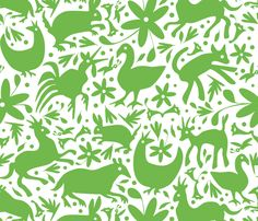 Mexico Springtime: Jade on White (Large Scale) fabric by Sammyk.