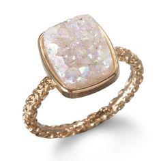 Dara Ettinger Nadia Stackable Druzy Ring (Rose gold-plated halo druzy quartz)