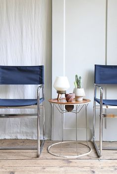 Solution for worn out leather on chrome dining chairs- also solving my desire for color there: sew new seats!      Ethanollie at Maven Collective mid-century chairs