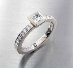 Diamond engagement ring Princess cut Diamond by TorkkeliJewellery, $2900.00