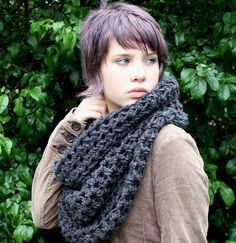 Chunky cowl neck shawl hood scarf charcoal black by HookedWear