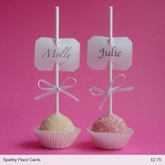 Popcake placecard .... cute for a shower!