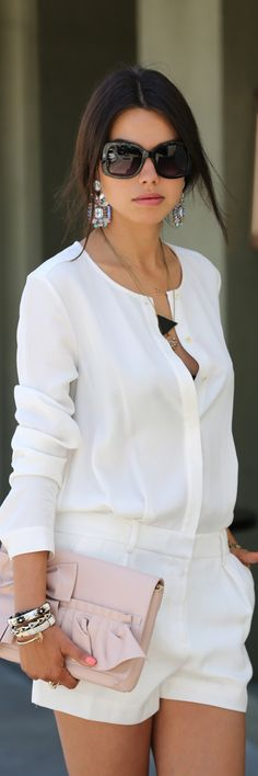 Women's fashion | Summer business attire | White blouse, shorts, pink clutch, accessories