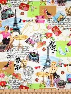 Timeless Treasures Fabric April in Paris by BelloBerryFabricShop