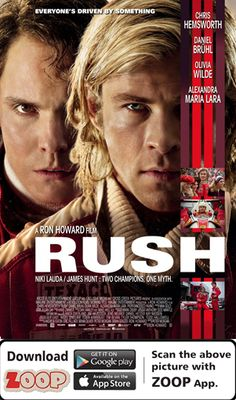 ZOOP Augments Movie 'RUSH (2013)' #Movie #Poster #MoviePoster #Augmented Reality #AR #QR #Scan #RUSH #HOLLYWOOD #ZOOP