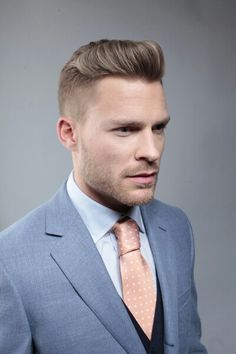 Slicked back mens hair