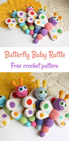 This gorgeous Butterfly Baby Rattle Crochet Pattern m akes a wonderful  gift for your lovely newborn. The toy develops baby's touch, hearing  and fine motor skills.