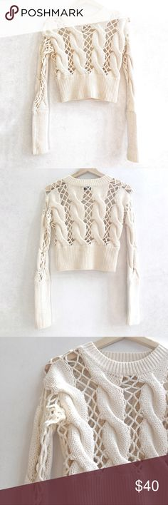 Nasty Gal Cropped White Knit Sweater, Worn Once! Nasty Gal knit pullover sweater.  White/off white.  XS.  Exaggerated cable knit design.  Slightly cropped fit.  Worn once, in excellent condition.  Perfect spring sweater! Sweaters Crew & Scoop Necks