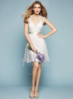 Robes de mariée - $100.99 - Forme Princesse Col V Longueur genou Tulle Dentelle Robe de mariée avec Plissé (00205003216)