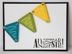 Clean and Simple Pennants by ladybugdesigns - Cards and Paper Crafts at Splitcoaststampers