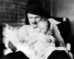 Ernest Hemingway with his 1st child, son Bumby from his 1st marriage to Hadley Richardson.  Bumby was born John Hadley Nicanor Hemingway on October 10, 1923 in Canada and nicknamed Bumby by his mother.