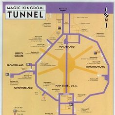 Little known facts and secrets at Disney World. Everybody knows Walt Disney World has underground tunnels called Utilidors, which are used for cast members to get around without being seen by guests. But have you ever seen a map of them? Walt Disney World, Disney Parks, Disney World Facts, Disney World Secrets, Disney World Tips And Tricks, Disney Tips, Disney World Vacation, Disney Vacations, Disney Love