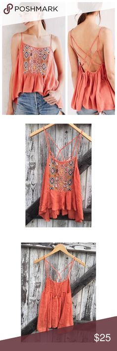 NWT UO Boho Strappy Flowy Embroided Tank in  Brand new with tags. So cute and such a pretty color! Smoke free pet friendly Urban Outfitters Tops