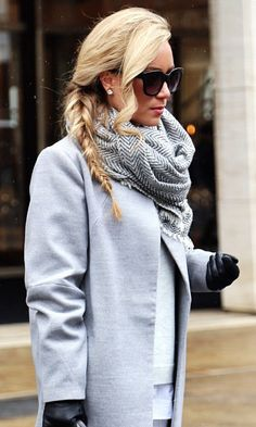 Cashmere herringbone scarf | New York Fashion Week