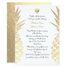 gold foil look pineapple tropical summer wedding card