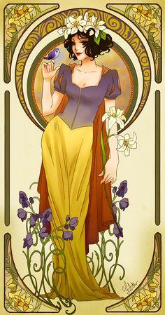 Disney princesses art noveau