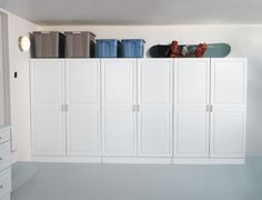 An organized basement or garage