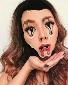 Willst du Halloween Make-up, das wow? Dann musst du dir unsere 25 atemberaubenden Halloween Make-up Makeup Fx, Makeup Brushes, Movie Makeup, Glow Makeup, Scary Makeup, Helloween Make Up, Melting Face, Make Up Gesicht, Halloween Makeup Looks