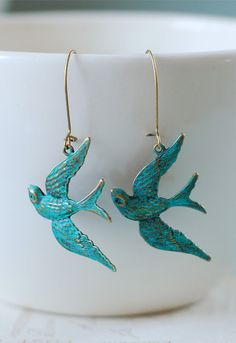 Teal Blue Verdigris Patina Brass Bird Earrings