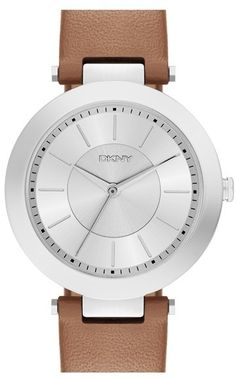 DKNY 'Stanhope' Leather Strap Watch, 36mm