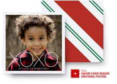 Stand out with an Ultrathick Holiday Photo Card featuring a festive stripe of red - modern design, ultrathick card paper and high-quality photo printing.