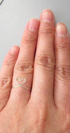 Adjustable Sterling Silver Heart Ring Heart by PurplePoemCraft
