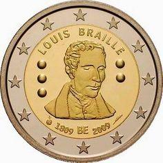 2 euro Belgium 2009, 200th Anniversary of birth of Louis Braille. Commemorative 2 euro coins from Belgium