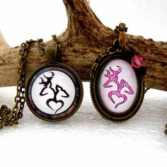 Items similar to Pink Camo Buck and Doe Necklace Set, Heart Deer Pendant, Couples Jewelry, Rustic CamoflaugeWedding, His Doe Her Buck on Etsy Country Girl Style, Country Chic, Country Girls, My Style, Camo Jewelry, Jewelry Gifts, Jewlery, Couple Necklaces, Couple Jewelry