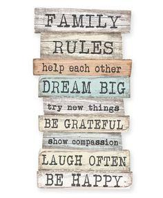 """Little Nice Things ★ Dekoplatte """"Familienregeln"""""""