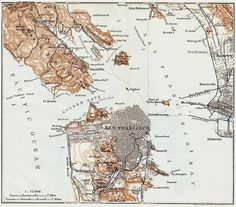 Antique Map of San Francisco Bay area. by patternsnprints on Etsy, $7.95