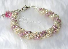 Cream & Pink Sweety Twisty Swarovski Pearl Bracelet by CandyBead via Etsy