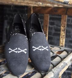 Barker Black Loafers with Crossed Bones