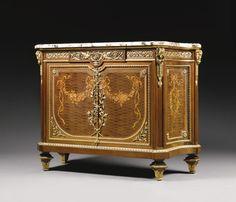 A gilt bronze mounted mahogany trellis parquetry and fruitwood marquetry meubleà hauteur d'appui, Paris, last quarter 19th century | Lot | Sotheby's