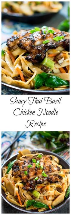 Saucy Thai Basil Chicken Noodle Bowl Recipe is a creamy blend of Asian flavors. Saucy Thai Basil Chicken Noodle Bowl Recipe is a creamy blend of Asian flavors. It's a little bit sweet and spicy and a whole bunch delicious! Vegetarian Recipes Dinner, Easy Dinner Recipes, Vegetarian Ramen, Easy Dinners, Breakfast Recipes, Dessert Recipes, Pasta Dishes, Food Dishes, Asian Recipes
