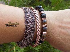 Men copper cuff braceletTwisted braided Men BraceleteMen