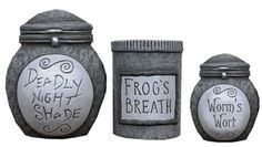 """Ohmygoodness, I love these Nightmare Before Christmas ceramic storage jars. I think """"Deadly Night Shade"""" is my favorite, but """"Frog's Breath"""" is a close second. I'm so getting this! $39.99 at Fun to Collect"""