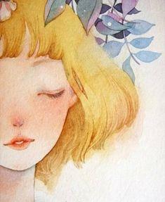 The Sun Brings Sleep by Weinian Du Art And Illustration, Watercolor Illustration, Watercolor Paintings, Pretty Art, Cute Art, Art Sketches, Art Drawings, Arte Sketchbook, Anime Kunst