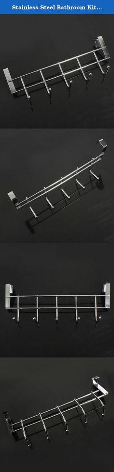 Stainless Steel Bathroom Kitchen Wall Hook Rack Clothes Hanger // Baño de acero inoxidable gancho de la pared de la cocina ropa del estante perch. A estrenar y alta calidad.Este gancho robusto, hay cinco ganchos hooks.5 para pasar un montón de cosas, ayudan a ahorrar space.door volver suspensión, sin clavos ni pegamento, facilidad de use.suitable de hotel, cocina, cuarto de baño y otros lugares. Description:This hook sturdy, there are five hooks.5 hooks to hang a lot of things, help you…