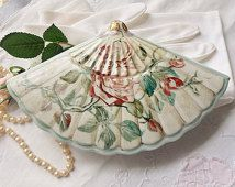 Rose Folding Fan Dish, Hand Held Fan Shaped Dresser Dish, Covered Hair Pin Dish