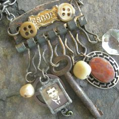 Escort Steampunk Assemblage Charm Necklace by Vintagearts