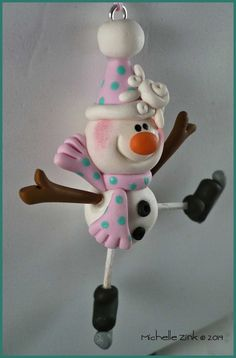 Polymer Clay Skating Snowman Ornament by michellesclaybeads