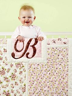 Love this free quilt pattern from Better Homes and Gardens. Tutorial shows boy version as well. Great backed with minky and quick straight-line quilting.