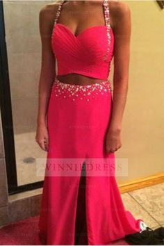 Two Piece Prom Dress,Sexy Split Prom Dresses,rose Red Evening Dress Two Piece Party Dress Split Prom Dresses, Straps Prom Dresses, Best Prom Dresses, Backless Prom Dresses, Beautiful Prom Dresses, Party Dresses For Women, Prom Gowns, Dresses 2016, Evening Party Gowns