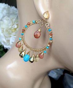 Luxury Colorful Gemstone Hoop Chandelier by DoolittleJewelry