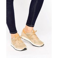 Saucony Dnx Sneakers In Beige & Orange ($110) ❤ liked on Polyvore featuring shoes, sneakers, beige, saucony trainers, orange leather shoes, chunky shoes, lace up shoes and chunky sneakers