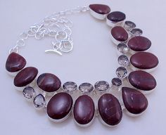 free shipping f-68 Stunning Marron Jasper  - Smoky  .925 silver handmade necklace jewelery by SILVERHUT on Etsy