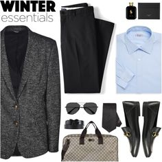 winter essentials by italist on Polyvore featuring Charvet, Lands' End, Dolce&Gabbana, Gucci, EyeBuyDirect.com, Ralph Lauren, men's fashion and menswear